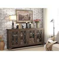 Somette Distressed Brown 4-Door Media Credenza