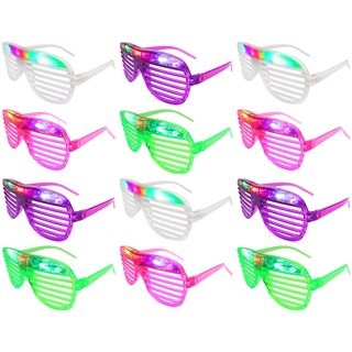 Velocity Toys Flashing LED Multi Color Slotted Shutter Glasses (Set of 12) - Green
