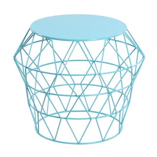 Deep Sky Blue Metal Drum Stool