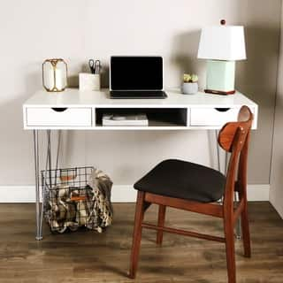 Palm Canyon Madrid 48 Inch Grey Color Accent Writing Desk