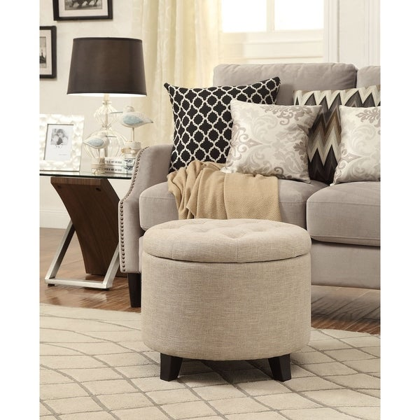 Convenience Concepts Designs4comfort Round Ottoman Free