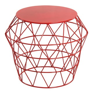 Red Metal Drum Stool