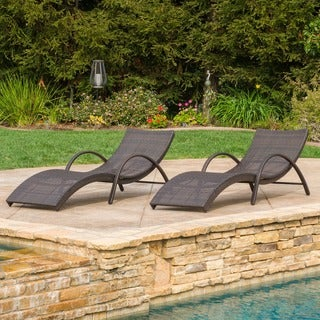 Acapulco Outdoor Wicker Folding Armed Chaise Lounge (Set of 2) by Christopher Knight Home