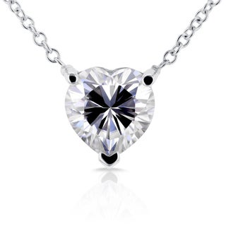 Annello by Kobelli 14k White Gold Heart Shape Moissanite Solitaire Pendant