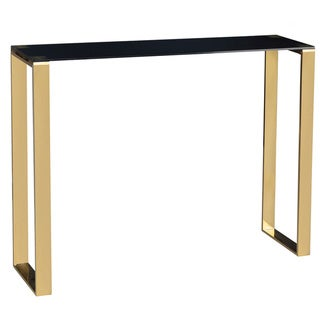 Cortesi Home Black and Gold Glass Remini Narrow Console Table