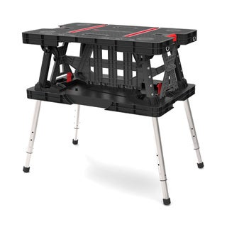 Keter 21.65 x 33.46 x 33.7-inch Adjustable Folding Compact Table Work Station Solution