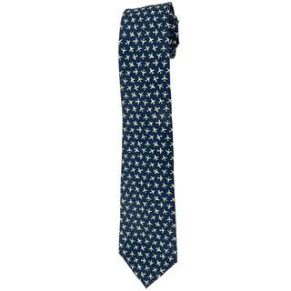 Davidoff 100-percent Silk Blue Plane Print Neck Tie