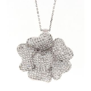 Pori Sterling Silver Flower of Hearts Micro Pave Pendant Necklace