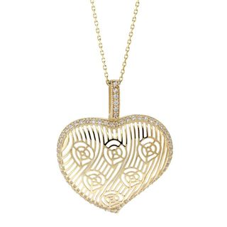 Pori 18k Goldplated Silver Target Heart Cubic Zirconia Pendant Necklace