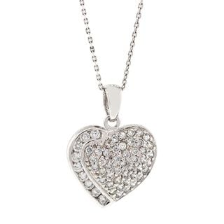 Pori Sterling Silver Micro Pave Cubic Zirconia Heart Slit Necklace