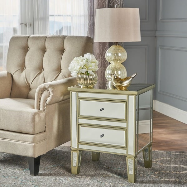 Christopher Knight Home Crawford Vintage Mirror 2-drawer End Table