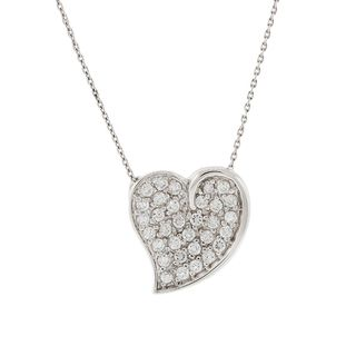 Pori Sterling Silver Swish Heart Pave Pendant Necklace