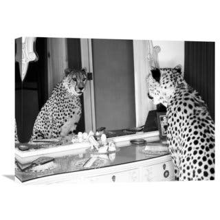 Global Gallery Emma Rian 'Cheetah Looking in Mirror' Stretched Canvas Artwork - Black