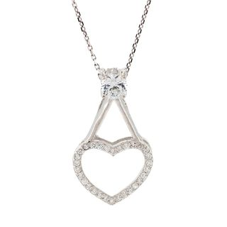 Pori Sterling Silver Cubic Zirconia Heart Pendant Necklace
