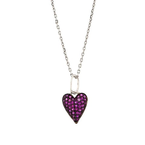 Pori Sterling Silver Pink Cubic Zirconia Heart Pendant Necklace