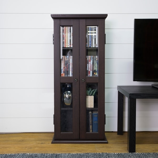 41 Tall Media Storage Cabinet Espresso 18 X 8