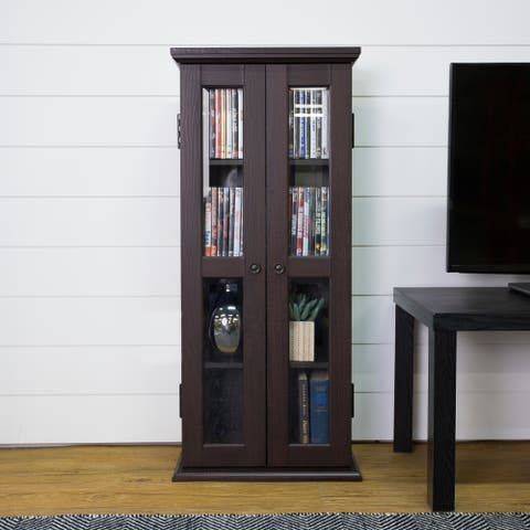 "41"" Tall Media Storage Cabinet - Espresso - 18 x 8 x 41h"
