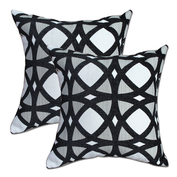 Big Tree Furniture Black Mosaic 22 Inch Pillows (Set Of 2)