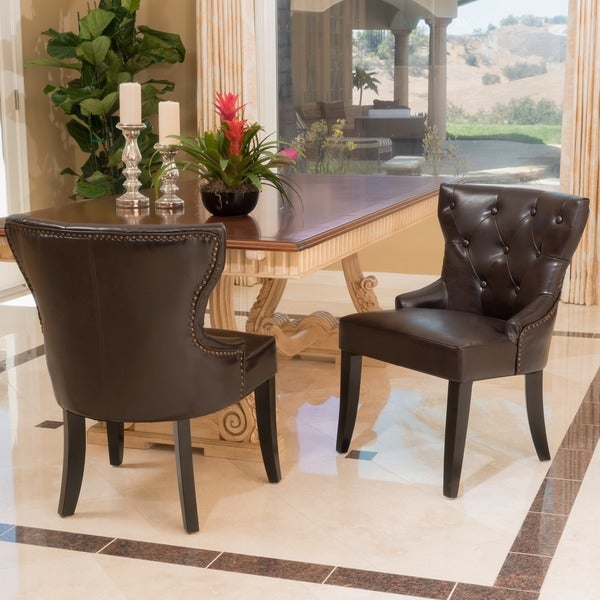 Darden Tufted Bonded Leather Dining Chair Set Of 2 By Christopher Knight Home