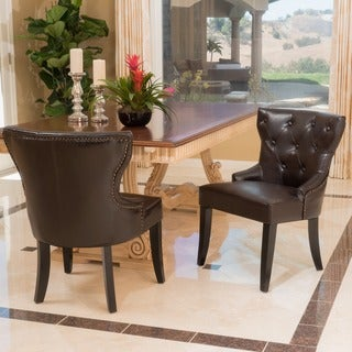 Christopher Knight Home Darden Tufted Bonded Leather Dining Chair (Set of 2)