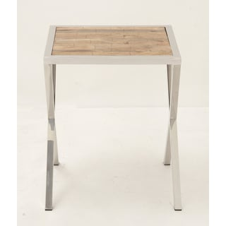 Stainless Steel Wood Accent Table
