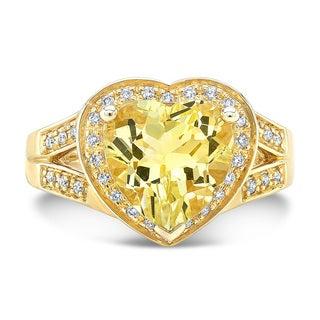 14k Yellow Gold 1/6ct TDW Diamond and Lemon Quartz Heart Ring (H-I, VS1-VS2)