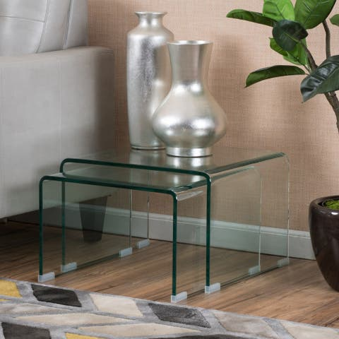Ramona Glass Accent Nesting Tables (Set of 2) by Christopher Knight Home