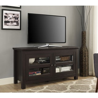 Clay Alder Home Hardy 44 Inch Espresso Wood TV Stand Console With Glass  Doors