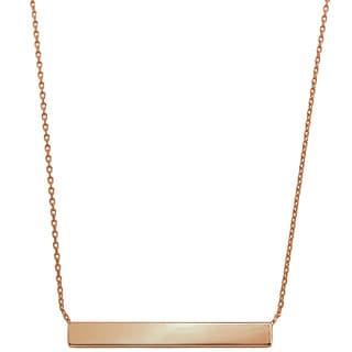 Eternally Haute 14k Rose Goldplated Minimalist Bar Necklace