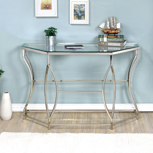 Furniture of America Martello Contemporary Chrome Glass Top Sofa Table
