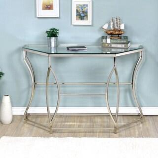 Furniture of America Martello Contemporary Chrome Glass Top Sofa Table