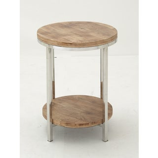 Stainless Steel Wood Round Accent Table