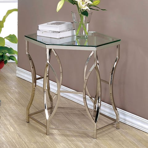 Furniture of America Talm Contemporary Chrome Glass Top End Table
