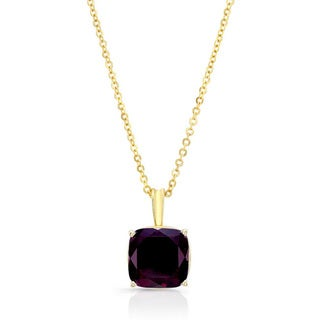 14k Yellow Gold Rhodolite Garnet Solitaire Necklace