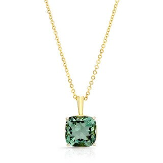 14k Yellow Gold Green Quartz Solitaire Necklace