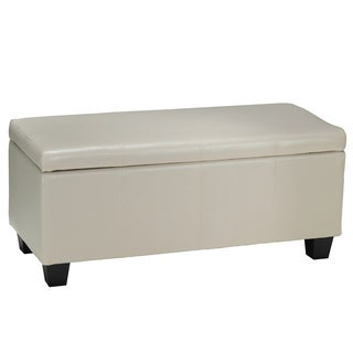 Cortesi Home Cream Faux Leather Vinyl Vera Storage Ottoman