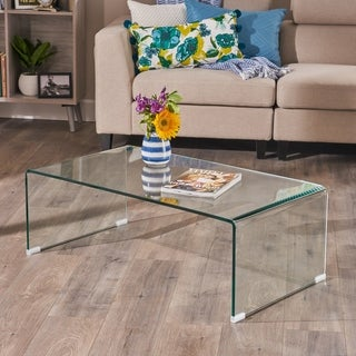 Link to Ramona Glass Rectangle Coffee Table by Christopher Knight Home Similar Items in Living Room Furniture