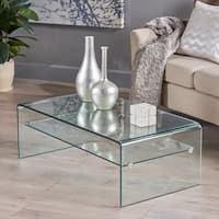 Ramona Glass Rectangle Coffee Table with Shelf by Christopher Knight Home