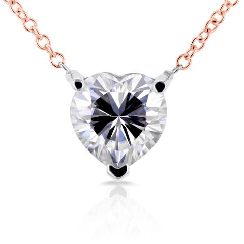Annello by Kobelli 14k Rose and White Gold 1 Carat Heart Shape Moissanite (HI) Solitaire Necklace