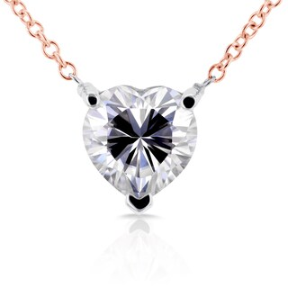 Annello by Kobelli 14k Rose and White Gold Heart Shape Moissanite Solitaire Necklace