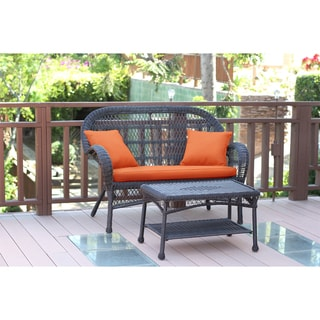 Santa Maria Espresso Wicker Loveseat and Coffee Table Set with Cushions