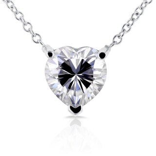Annello by Kobelli 14k White Gold 1 Carat Heart Shape Moissanite (FG) Solitaire Necklace