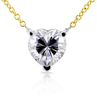 Annello by Kobelli 14k Yellow and White Gold 1 Carat Heart Shape Moissanite (FG) Solitaire Necklace
