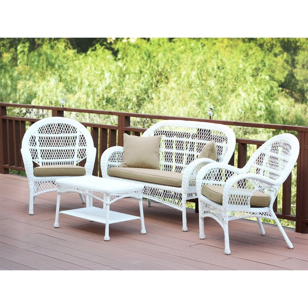 Santa Maria White Wicker 4-piece Conversation Set with Cushions