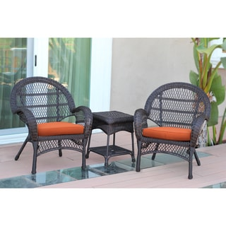 Santa Maria Espresso Wicker Chair And End Table Set with Cushions