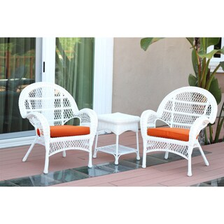 Santa Maria White Wicker Chair And End Table Set with Cushions