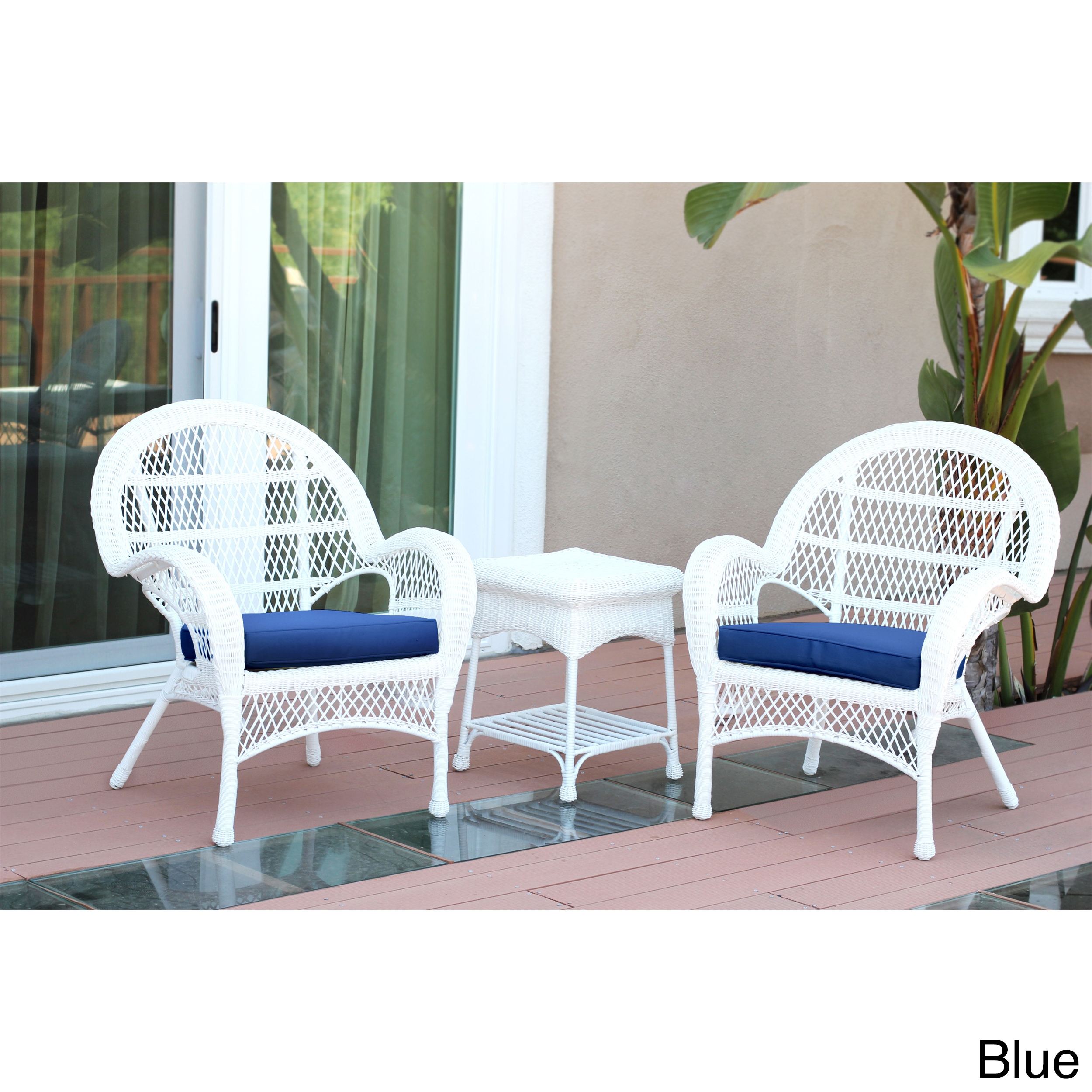 Jeco Santa Maria White Wicker Chair And End Table Set wit...