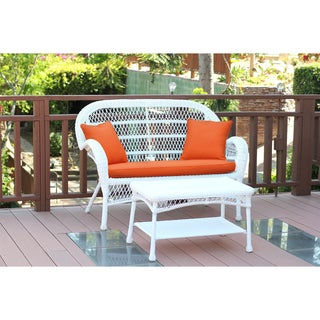 Santa Maria White Wicker Loveseat and Coffee Table Set with Cushions