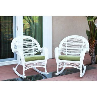Santa Maria White Rocker Wicker Chair With Cushion (Set of 2)