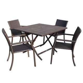 Wicker Square Back Cafe 5-piece Dining Set